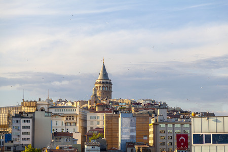View of Galata tower, partially obscured by old buildings