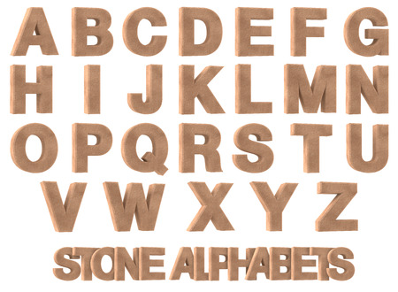 3d Render of Stone alphabets isolated on white background