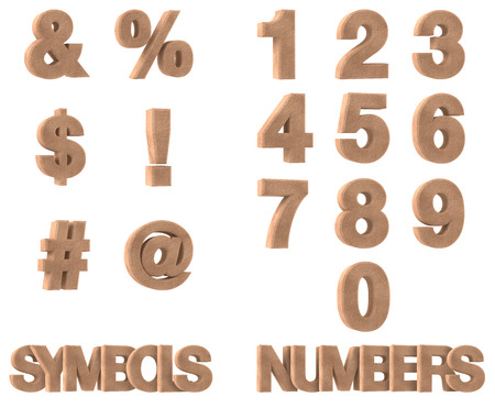 3d Render of Stone Numbers and Symbols isolated on white background