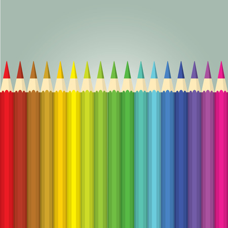 Vector illustration of stack of color pencils on gradient background Illustration