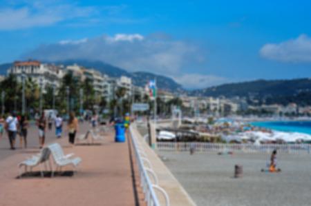 cote d'azure: View on Promenade der Anglais, blurred