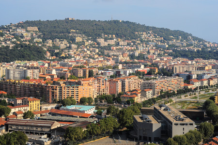 cote d'azure: Top view on Nice, mountains, buildings, sea Stock Photo