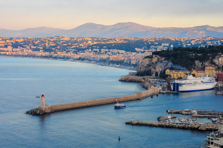 cote d'azure: Old Nice district near bay with yachts and ferry
