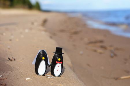 3d doll: Penguins cake topper on beach