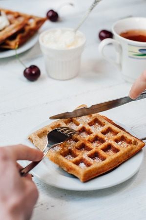 wholegrain: Breakfast with wholegrain brussels waffles and whipped cream