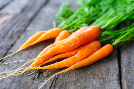 washed: Harvesting bunch of fresh washed carrot on the old wooden background