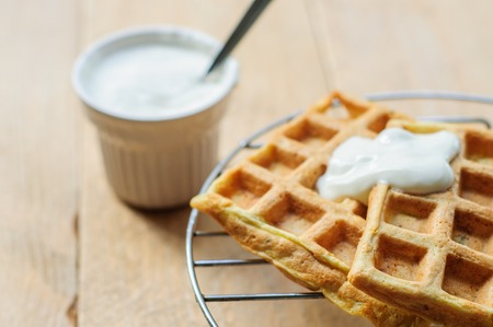 hash: Zuccini homemade hash brown waffles with sour cream