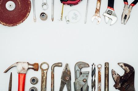 Many mechanic tools set on white isolated background