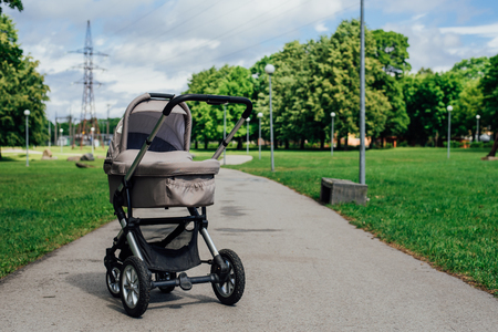 Baby stroller in park at sunny day