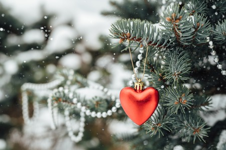 christmas tree branch: Red heart christmas decoration on tree branch with bokeh beads. Snow drawn Stock Photo