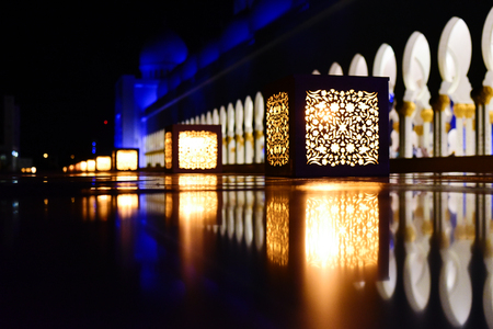 Lanterns in Sheikh Zayed Grand Mosque at night. Abu Dhabi, UAE Editorial