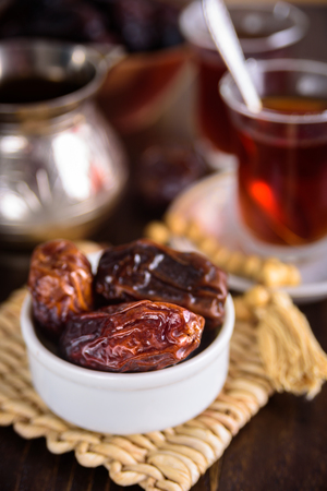 Date friuts and tea for iftar. Prayer beads