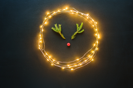 Christmas deer from tree branches and berry on blackboard with lights Stock Photo