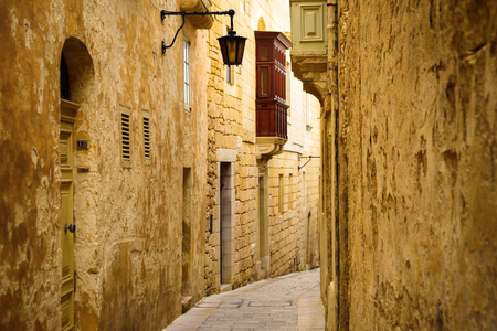 Mdina, Malta - February 15, 2019: View of ancient street of Mdina at sunny day Editorial