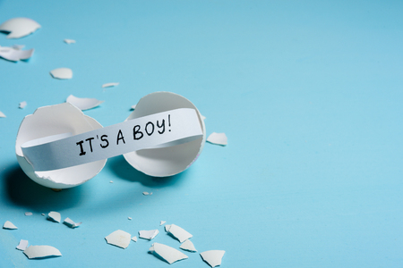 Baby shower concept. Boy, blue. Cracked egg with a message IT'S A BOY. Like fortune cookies