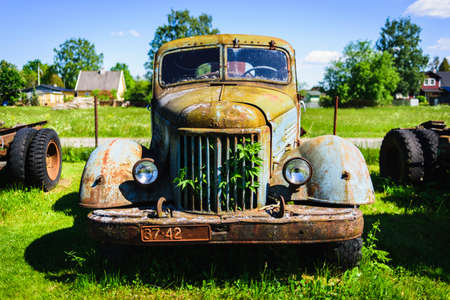 Jarva-Jaani, Estonia - June 13, 2020: Old rusty Soviet Russian car ZiL with cracked paint