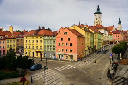 Zlotoryja, Poland - July 5, 2020: Region: Lower Silesia. Top view of Rynek square and Old Town