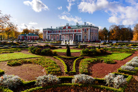 Tallinn, Estonia - October 13, 2019: Kadriorg park nd palace at sunny autumn day 新闻类图片