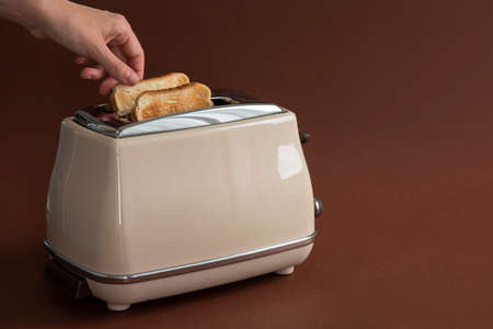 Two roasted pieces of bread on toaster on brown with woman hand Standard-Bild