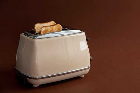 Two roasted pieces of bread on toaster on brown