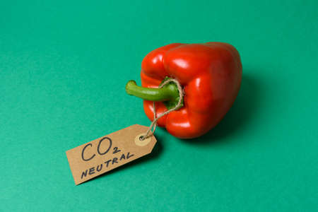 Bell pepper with carbon emission label made from recycled paper on green