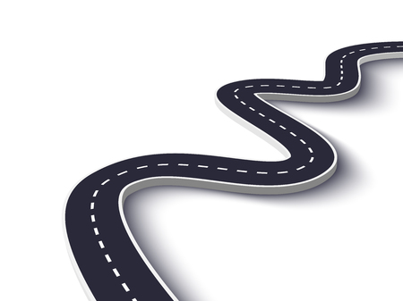 Winding Road on a White Isolated Background. Road way location infographic template.