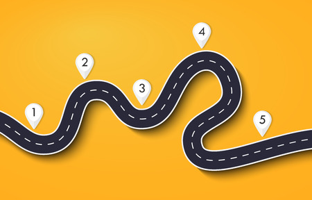 Winding Road on a Colorful Background. Road way location infographic template with pin pointer. Vector