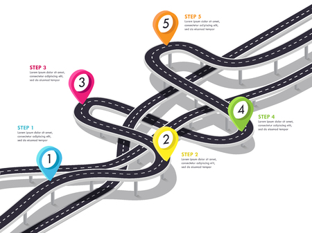 Road trip and Journey route background. Business and Journey Infographic Design Template. Stylish 3D Winding roads of the flyover