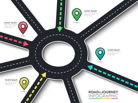 Road trip, journey route and road to success. Business and Journey Infographic with pin pointer. Round road junction of the arrows