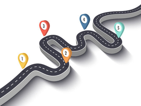 Road trip and Journey route. Business and Journey Infographic Design Template with pin pointer. Winding road on a white background