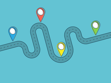 Road trip and Journey route. Journey Infographic Flat Design Template with pin pointer. Winding road on a colorful background. Stylish streamers  イラスト・ベクター素材