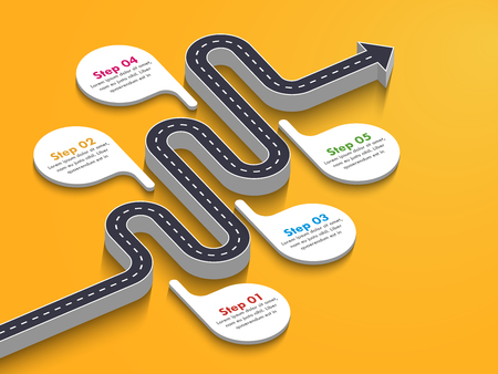 Road way location infographic template with a phased structure. Winding road timeline. Stylish 3D Serpentine in the form of line arrows. Vector EPS 10 일러스트