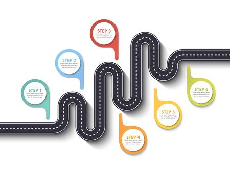 Plantilla de infografía de ubicación de camino de carretera con puntero. Camino sinuoso sobre un fondo blanco. Serpentinas con estilo. Infografía de línea fina de diseño plano moderno