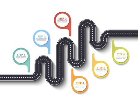 Road way location infographic template with pin pointer. Winding road on a white background. Stylish streamers. Modern flat design thin line infographic Ilustração