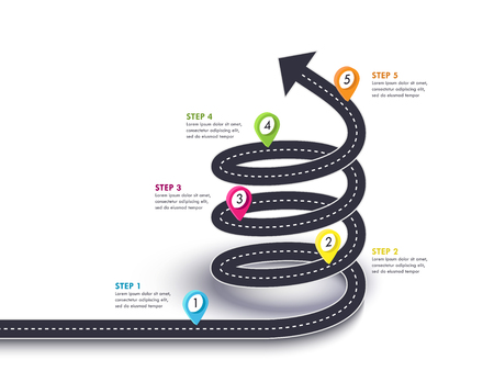 Spiral Arrow Road to Success. Road trip and Journey route with pin pointer and place for your data