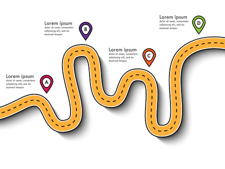 Road trip and Journey route. Business and Journey Infographic Design Template with pin pointer and place for your data. Winding roads. Modern flat design thin line infographic. Vector EPS 10_16