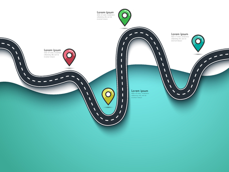 Road Trip and Journey Route. Business and Journey Infographic Flat Design Template with Pin Pointer. Stylish Winding Road.