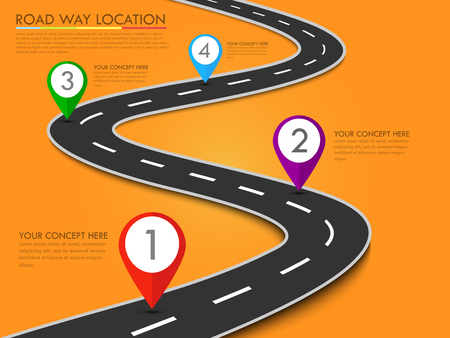 Road way location infographic template with pin pointer. Vector background