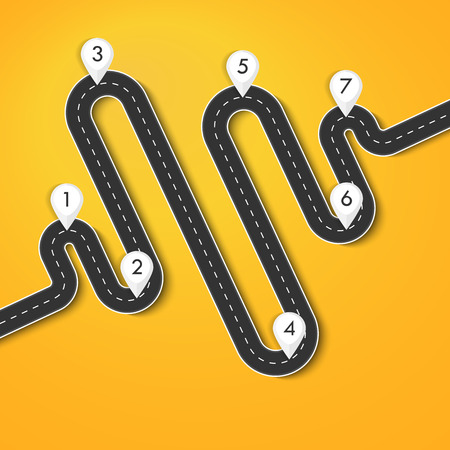 Road way location infographic template with pin pointer. Winding road on a colorful background. Stylish streamers