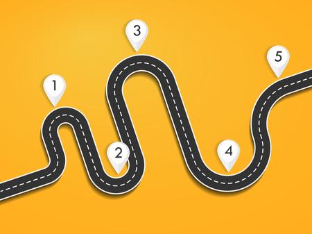 Infografik-Vorlage für den Straßenwegort mit Stiftzeiger. Kurvenreiche Straße auf einem bunten Hintergrund. Stilvolle Luftschlangen. Vektorgrafik