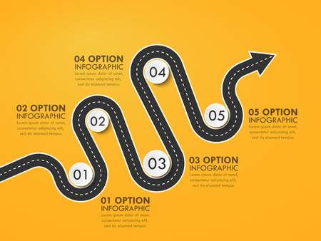 Road way location infographic template with a phased structure. Winding road timeline. Stylish Serpentine in the form of arrows. Vector EPS 10 일러스트