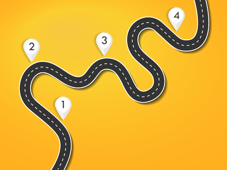 Road way location infographic template. Winding road on a colorful background. Road for the journey. Infographics for the journey. Stylish streamers.