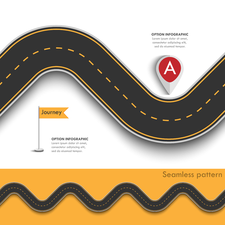 Road trip and Journey route with pin pointer. Business and Journey Infographic Design Template with flags and place for your data. Seamless Winding road on a colorful background.
