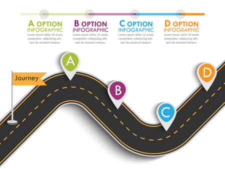 Road trip and Journey route with pin pointer. Business and Journey Infographic Design Template with flags and place for your data. Winding road on a colorful background