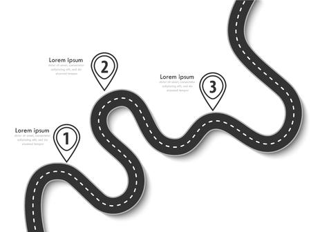 ロードトリップと旅路。フラグと場所を使用してデータを配置するビジネスおよび旅のインフォグラフィックデザインテンプレート。カラフルな背景に曲がりくねった道。スタイリッシュなストリーマー。