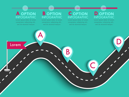 Road trip and Journey route. Business and Journey Infographic Design Template with flags and place for your data. Winding road on a colorful background. Stylish streamers.
