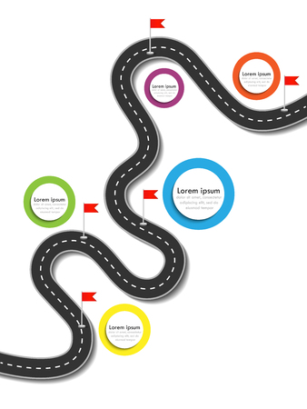 Road trip and Journey route. Business and Journey Infographic Design Template with flags and place for your data. Winding road on a colorful background. Stylish streamers. Stock Illustratie