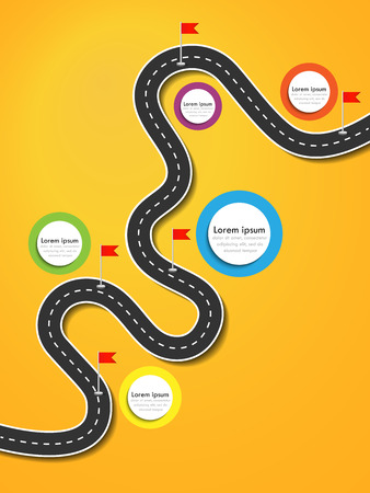 Road trip and Journey route. Business and Journey Infographic Design Template with flags and place for your data. Winding road on a colorful background. Stylish streamers. Illustration