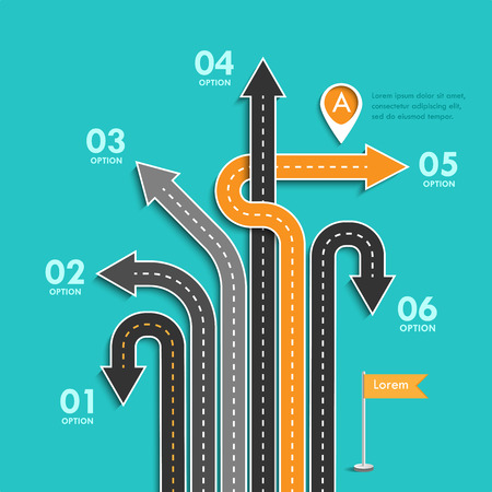 Road trip and Journey route. Business and Journey Infographic. Stylish Serpentine in the form of arrows. Winding roads on a colorful background.