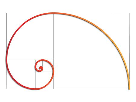 The Fibonacci spiral. Illustration